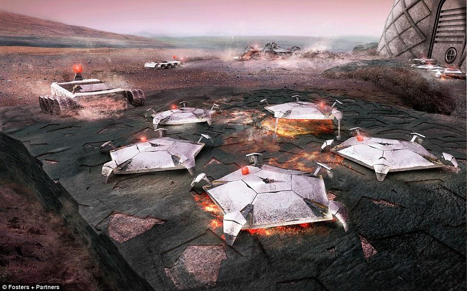 Tanah Mars yang longgar kemudian disatukan menggunakan microwave
