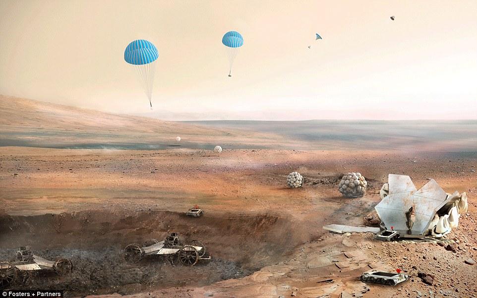 Habitat akan dikirimkan dalam dua tahap sebelum kedatangan astronot. Pertama, robot semi-otonom pilih situs dan menggali kawah dengan kedalaman 1,5 meter.